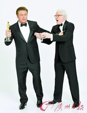 主持人史蒂夫-马丁与亚历克-鲍德温拍摄的奥斯卡宣传海报