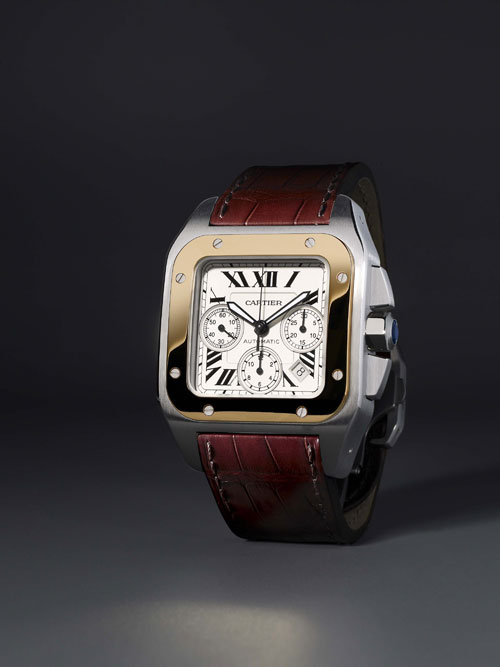 (5) Santos 100 黄K金 / 精钢多功能计时腕表