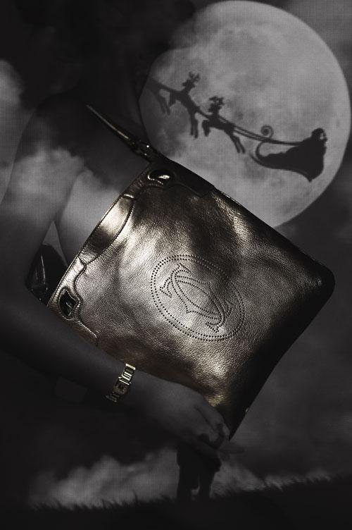 (20) Marcello限量版黑金色山羊皮手袋