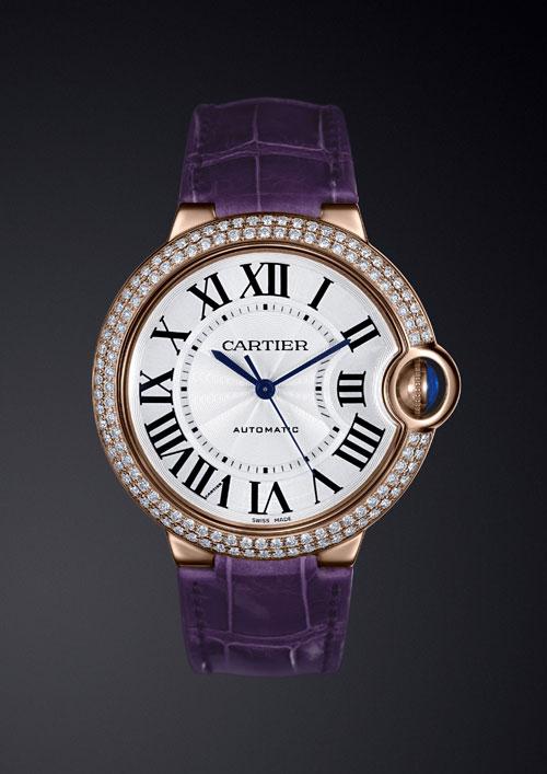 蓝气球系列玫瑰K金钻石腕表 紫色鳄鱼皮表带