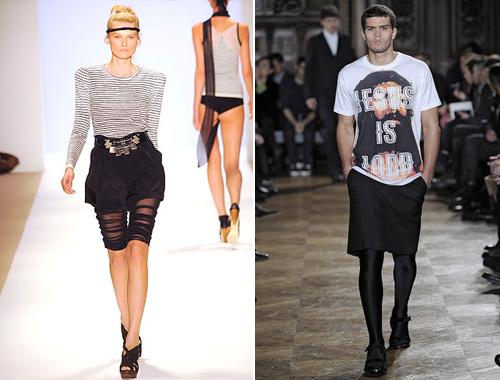 春夏女装(左)VS Givenchy2010秋冬男装-米兰 巴黎 男装周 向 女