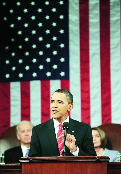 奥巴马就任总统以来首次发表国情咨文。    新华社/法新