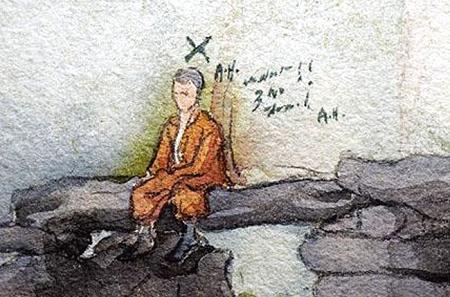 """希特勒创作于1910年的自画像,旁边写着他姓名的首字母""""a."""