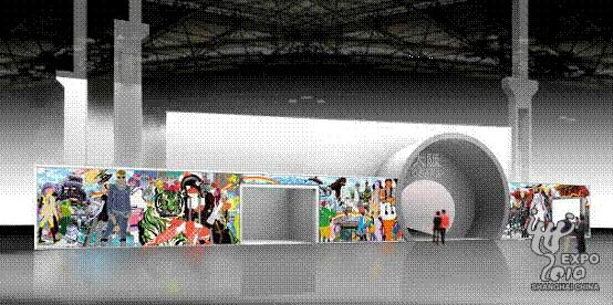 入口处是一幅由形部一平创作的艺术作品《NEW WORLD》