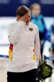 图文:速滑500米李相花夺冠 沃尔夫领奖台洒泪