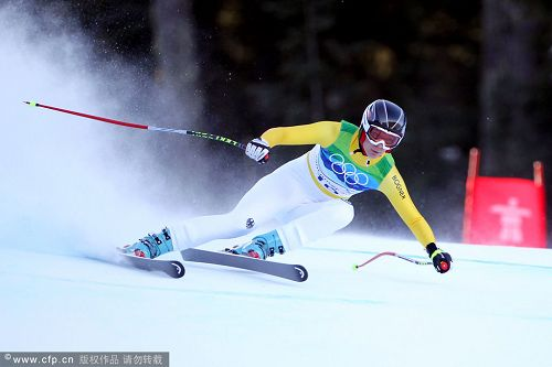 图文:高山滑雪女子全能比赛 里希风驰电掣
