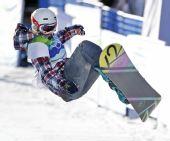 图文:单板滑雪女子U型池决赛 特特尔在比赛中
