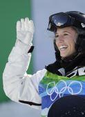 图文:单板滑雪女子U型池决赛 露出开心笑容