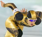 图文:日本速滑队透视比赛服 金身着色比赛服