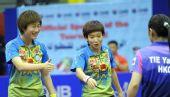 图文:卡塔尔赛女双半决赛赛况 丁宁笑得开心