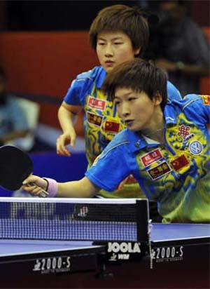 刘诗雯丁宁在比赛中 图片来源:乒联官网