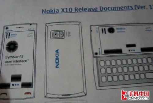 侧滑全键盘版X6 诺基亚X10设计图曝光