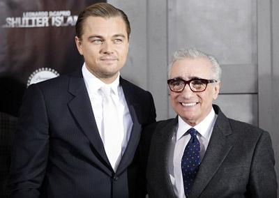 斯科塞斯(右)与迪卡普里奥日前出席《禁闭岛》纽约首映礼
