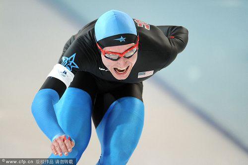 图文:速度滑冰男子10000米 美国选手库克