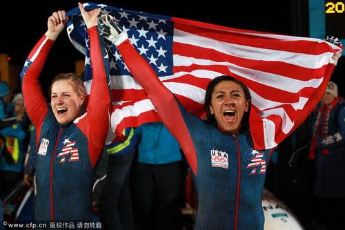 美国队员庆祝佳绩