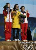 图文:女子空中技巧颁奖礼 前三名获得者