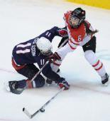 图文:加拿大夺女子冰球冠军 双方拼抢激烈