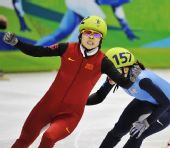 图文:王�骰衽�子1000米冠军 冲线后的表情