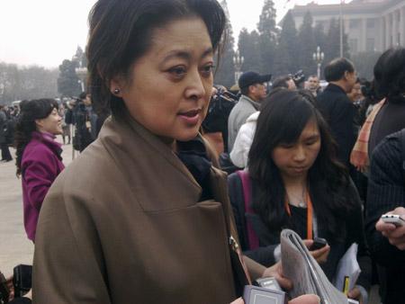 政协委员倪萍接受记者采访  摄影 于盟