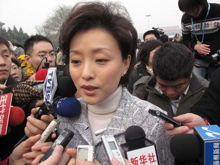 政协委员杨澜抵达会场接受记者采访  摄影 王儒