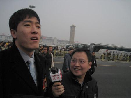 政协委员刘翔抵达会场  摄影 徐扬