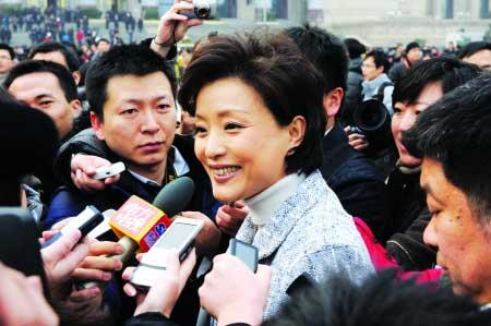 昨日,杨澜委员在天安门广场接受记者采访  CFP 图