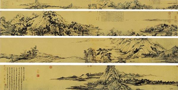 """《富春山居图》,纸本水墨,宽33厘米,长636.9厘米,将富春江两岸数百里精粹聚于笔底,满纸空灵秀逸,笔简意远,被后人誉为""""画中之兰亭""""。"""