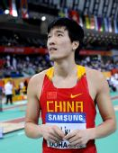 图文:世界室内锦标赛刘翔获第七 表情错愕