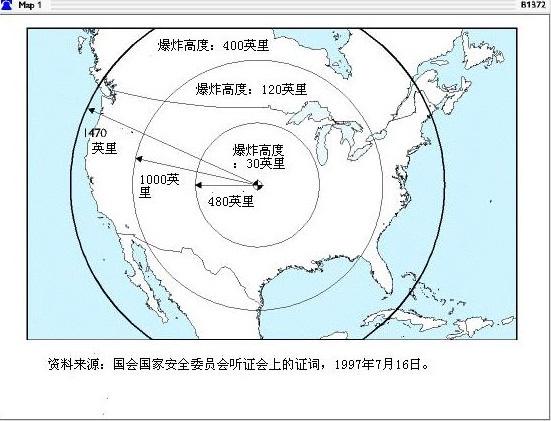 高空电磁脉冲效应对美国的破坏范围。