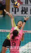 图文:天津女排3-0上海 杨婕跃起拦网