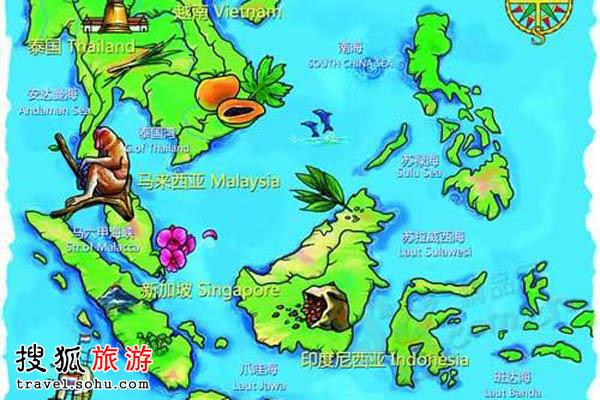 马来西亚至越南地图
