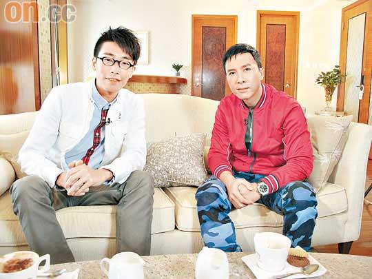 甄子丹(右)接受陆浩明专访