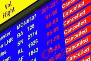 """航班预告牌上全是""""航班取消""""的红色警示。"""