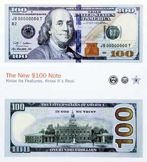 美元 新版 发布/新版100美元面值的纸币具有两项新防伪特征(资料图)