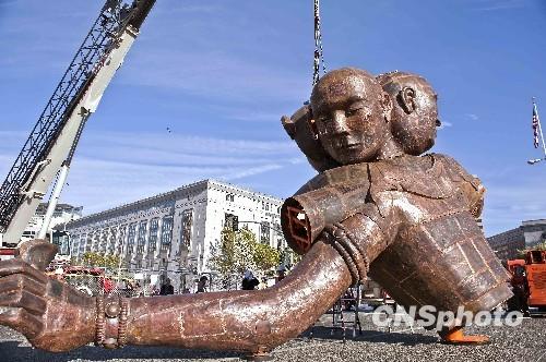 中国艺术家雕塑作品 三头六臂 抵达旧金山