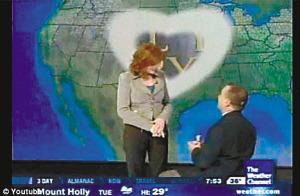 男友跪地求婚,屏幕上出现心形