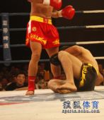 图文:姜春鹏KO伊朗选手 摩加塔巴被击倒在地
