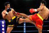图文:姜春鹏KO伊朗选手 双方腿上较量