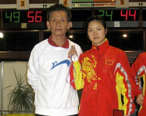 程锡平与教练吴立春教授在法国世界女子大金属球锦标赛上合影