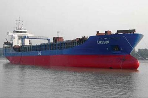 emssun公司生产的ice-1a级6250吨木材运输船.