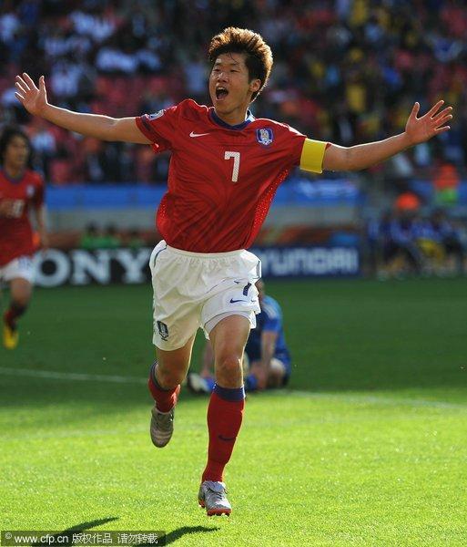 图文:亚洲首秀南非世界杯 朴智星破门