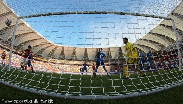 图文:亚洲首秀南非世界杯 李正秀破门瞬间