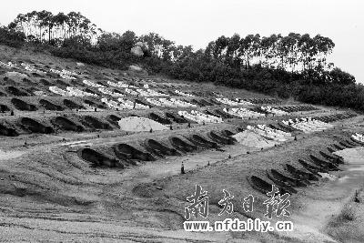 正在建造的高价墓地,一场暴雨过后,大量泥土沿着斜坡流失。