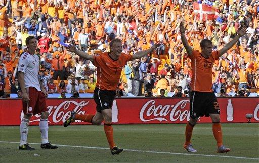 图文:荷兰2-0战胜丹麦 荷兰队很高兴