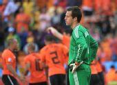 图文:荷兰队战胜丹麦队 索伦森十分无奈