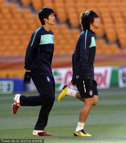 韩国队训练备战