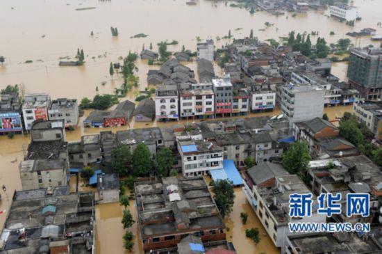 6月22日航拍的江西省抚州市唱凯堤决口附近受灾乡村.