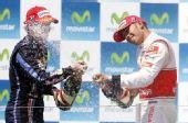 图文:2010年F1欧洲站正赛 维特尔小汉庆祝