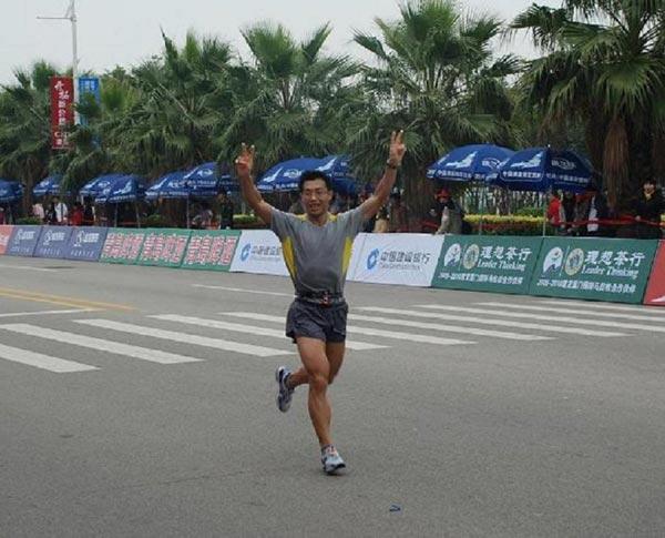 潘杰光在跑步比赛中