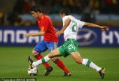 幻灯:1/8决赛西班牙VS葡萄牙 比利亚带球突破